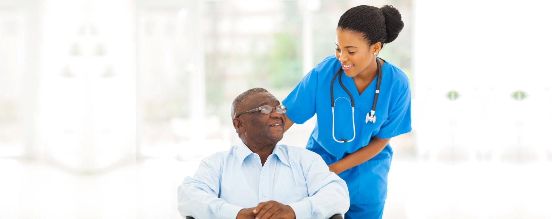african nurse and senior man