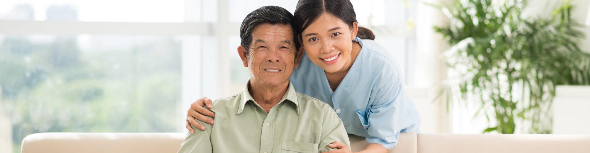senior man with his caregiver